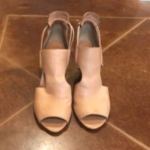 Shoes - Nude Peep Toe Wedges - Cynthia Size 7.5
